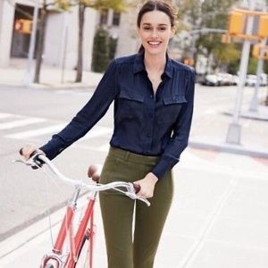 J.Crew Navy Silk Blouse